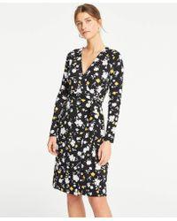 Ann Taylor - Petite Floral Matte Jersey Wrap Dress - Lyst