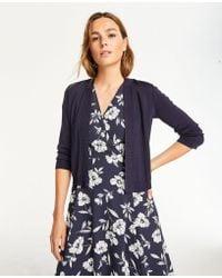 Ann Taylor - Shimmer 3/4 Sleeve Dress Cardigan - Lyst