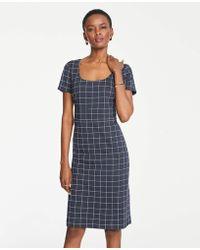 799de39153 Lyst - Ann Taylor Tropical Wool V-Neck Sheath Dress in Brown