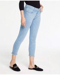 Ann Taylor - Frayed Hem Skinny Crop Jeans - Lyst
