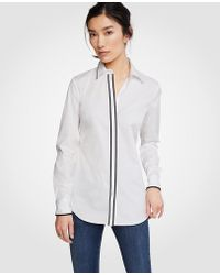 Ann Taylor - Petite Tipped Perfect Shirt - Lyst