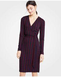 Ann Taylor - Houndstooth Matte Jersey Wrap Dress - Lyst