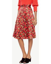 Ann Taylor - Printed Satin Fit And Flare Skirt - Lyst