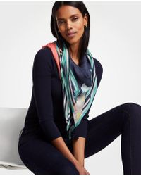 Ann Taylor - Tropical Floral Colorblock Scarf - Lyst