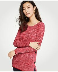 Ann Taylor - Marled Side Button Sweater - Lyst