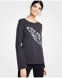 Ann Taylor - Petite Embellished Feather Jumper - Lyst