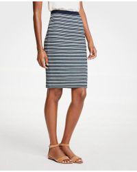 Ann Taylor - Striped Knit Pencil Skirt - Lyst