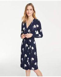 dcff9963181 Ann Taylor - Petite Floral Matte Jersey Wrap Dress - Lyst