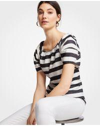 Ann Taylor - Striped Lantern Sleeve Top - Lyst