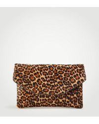 Ann Taylor - Leopard Print Haircalf Envelope Clutch - Lyst