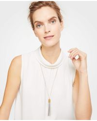 Ann Taylor - Metallic Tassel Pendant Necklace - Lyst