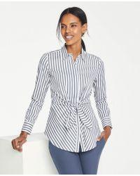 fe7ec519d86e0c Ann Taylor - Petite Stripe Tie Waist Perfect Shirt - Lyst