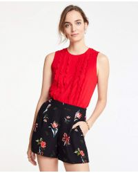 Ann Taylor - Ruffle Front Shell - Lyst