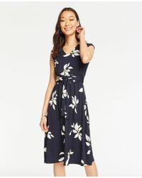 1ec4ba97e6164 Ann Taylor Lantern Sleeve Flare Dress in Black - Lyst