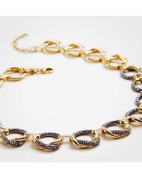 Ann Taylor - Pave Twisted Metal Necklace - Lyst