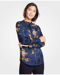 Ann Taylor - Petite Floral Shirred Button Down Blouse - Lyst