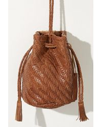 Anthropologie - Torey Woven-leather Bucket Bag - Lyst