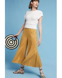 Elevenses - Anguilla Cropped Wide-leg Trousers, Yellow - Lyst