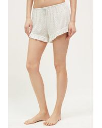 Saturday/sunday - Ruffled Floral Sleep Shorts, Neutral - Lyst