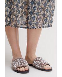 Sol Sana - Embellished Faux-fur Slides - Lyst