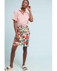 Maeve - Floral Denim Pencil Skirt - Lyst