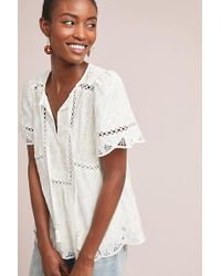 Feather & Bone - Vala Lace-trimmed Embroidered Blouse - Lyst