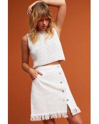Pilcro - Denim Fringe Skirt - Lyst