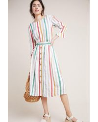 Anthropologie - Summer Striped Linen Mix Skirt - Lyst