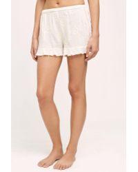 Eloise - Ambra Embroidered Sleep Shorts, White - Lyst