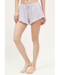Saturday/sunday - Ruffled Floral Sleep Shorts - Lyst