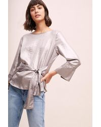 Anthropologie - Merla Metallic Waist-tie Top - Lyst