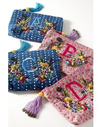 Anthropologie - Embroidered Monogram Pouch - Lyst