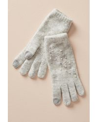Anthropologie - Pearled Grey Gloves - Lyst