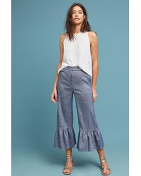 Ett:twa - Ruffled Chambray Trousers - Lyst