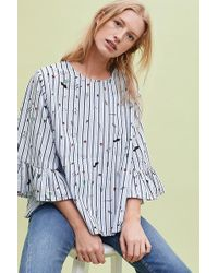fc290366e2a0a2 Anthropologie - Frida Striped-embroidered Top - Lyst