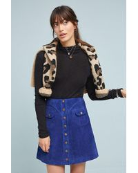 Anthropologie - Suede Button-front Mini Skirt - Lyst