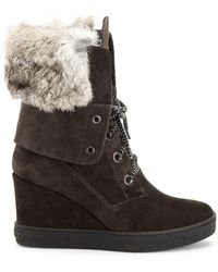 Aquatalia - Cordelia High Wedge Boots W/ Fur Trim - Lyst