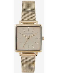 Armani Exchange - Women's Stainless Steel Square Three-hand Watch - Lyst