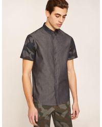 Armani Exchange - Regular Fit Short-sleeve Geo Camo Yoke Shirt - Lyst