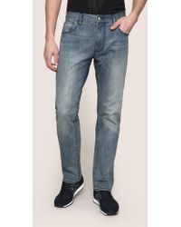 Armani Exchange - Classic Relaxed Straight Mid-indigo Jeans - Lyst