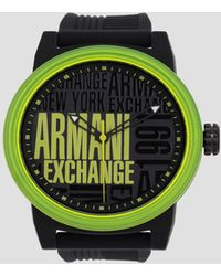 Armani Exchange - Logo Face Silicone Band Watch - Lyst
