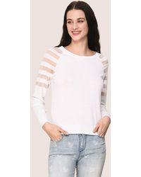 Armani Exchange - Sheer Stripe Long-sleeve Sweater - Lyst