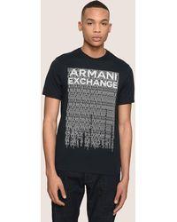 Armani Exchange - Allover Ticker Logo Crew - Lyst