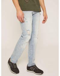 Armani Exchange - Slim-fit Light Indigo Jean With Distressing - Lyst