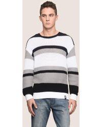 Armani Exchange - Multi Stripe Textured Sweater - Lyst