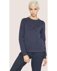Armani Exchange - Embroidered Outline Script Sweatshirt Top - Lyst