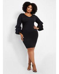 a0c78bcdff050 Ashley Stewart - Plus Size V Neck Triple Bell Sleeve Dress - Lyst