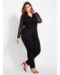 1cccf2b19a1d9 Ashley Stewart - Plus Size Tall Lace Surplice Top Jumpsuit - Lyst