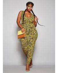 cb2a6edf9fa Lyst - Ashley Stewart Plus Size Tall Off Shoulder Print Jumpsuit