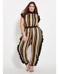 7ee51b2b3ab Charlotte Russe · Ashley Stewart - Plus Size Striped Side Ruffle Jumpsuit -  Lyst